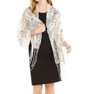 NWT INC Art Deco ivory/ gold sequined wrap/scarf